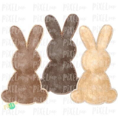 Bunny Watercolor Trio Browns Tan Sublimation Design PNG | Easter Design | Bunny Design | Easter PNG | Sublimation Design | Watercolor Art