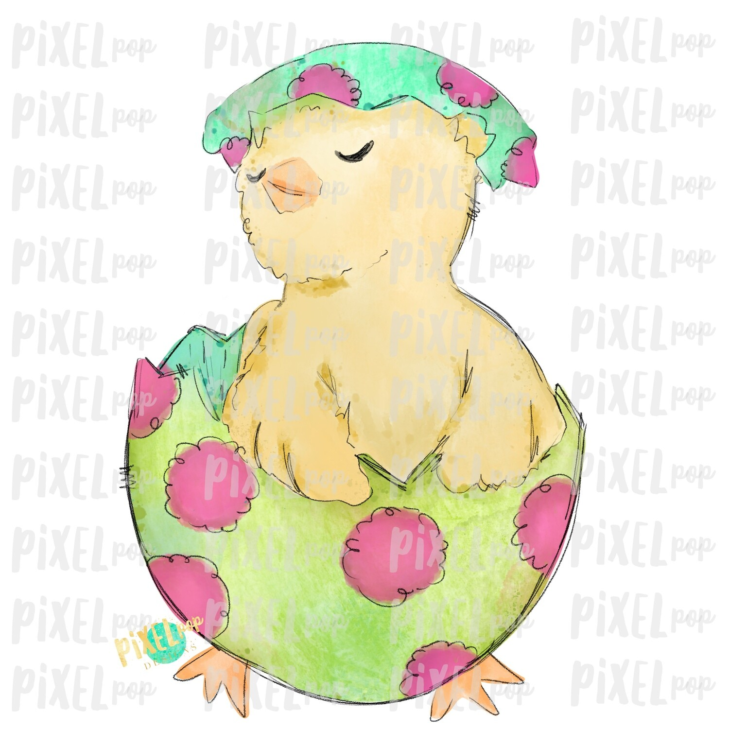 Easter Chick in Egg Watercolor Sublimation Design PNG | Easter Design | Chick Design | Easter PNG | Sublimation Design | Watercolor Art