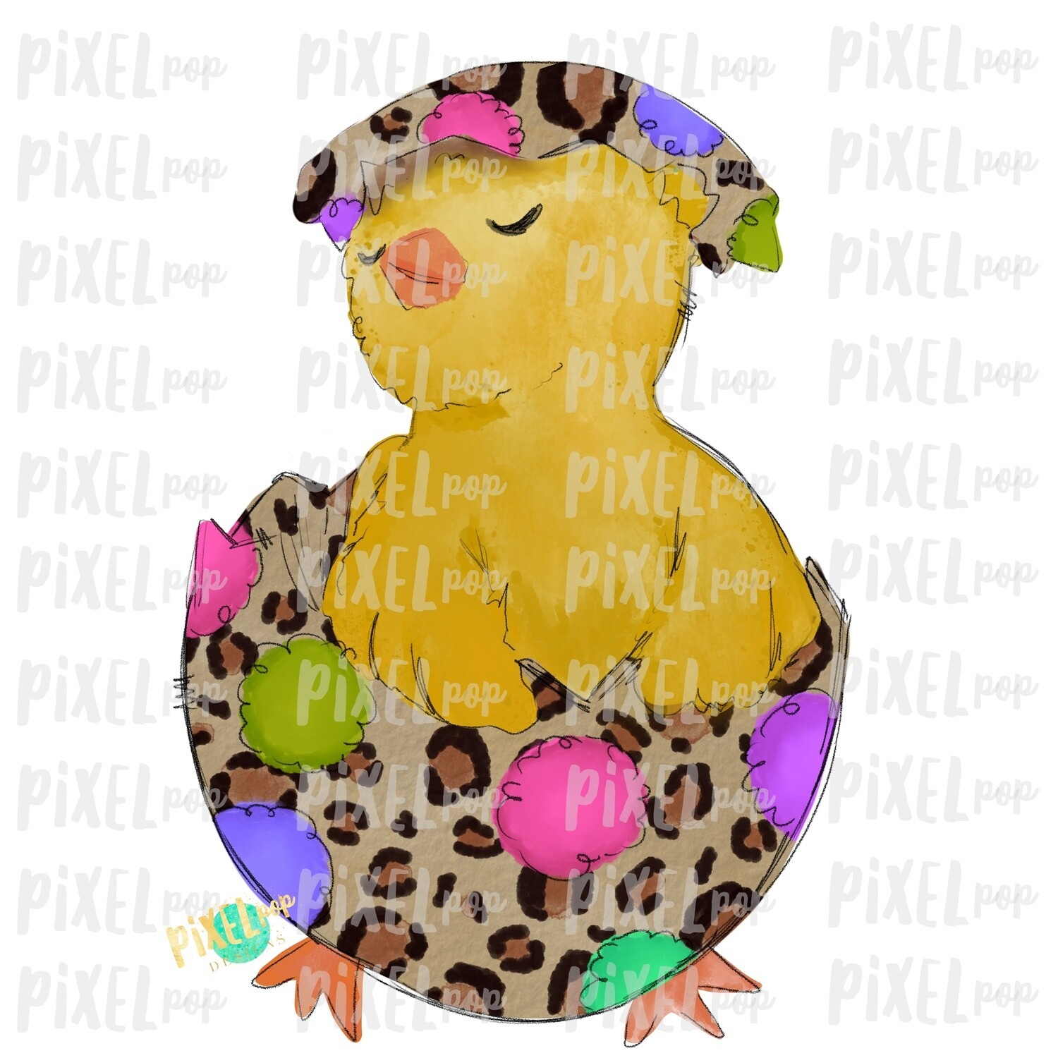 Chick in Egg Leopard Watercolor Sublimation Design PNG | Easter Design | Chick Design | Easter PNG | Sublimation Design | Watercolor Art