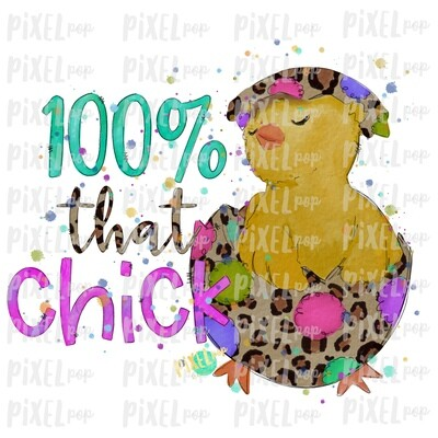 100% That Chick in Egg Leopard Watercolor Sublimation Design PNG | Easter Design | Chick Design | Easter PNG | Sublimation Design | Watercolor Art