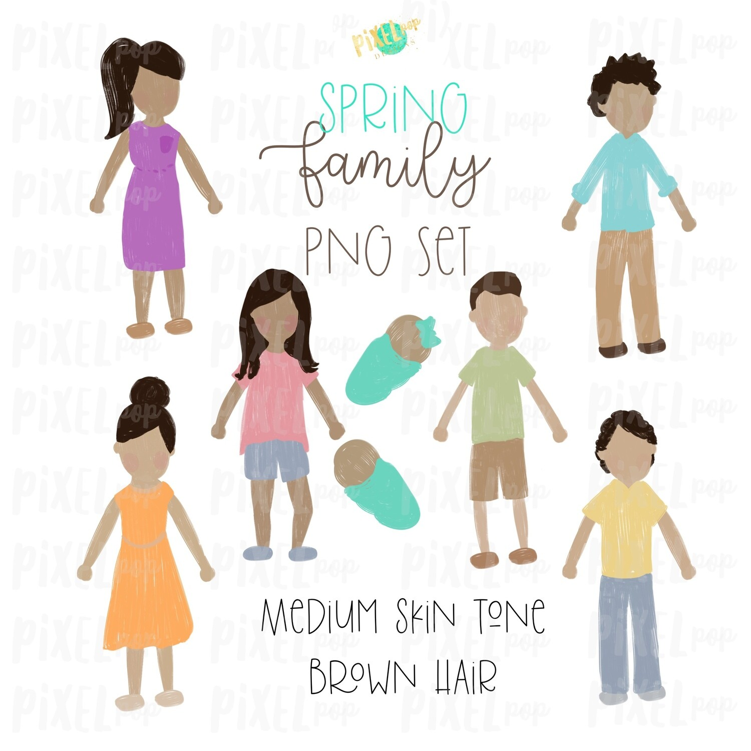 SPRING Medium Skin Brown Hair Stick People Figure Family PNG Sublimation | Family Ornament | Family Portrait Images | Digital Download