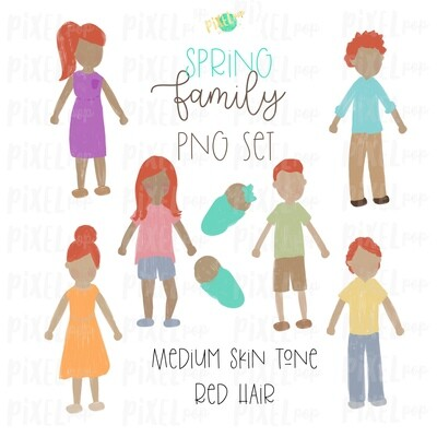 SPRING Medium Skin Red Hair Stick People Figure Family PNG Sublimation | Family Ornament | Family Portrait Images | Digital Download