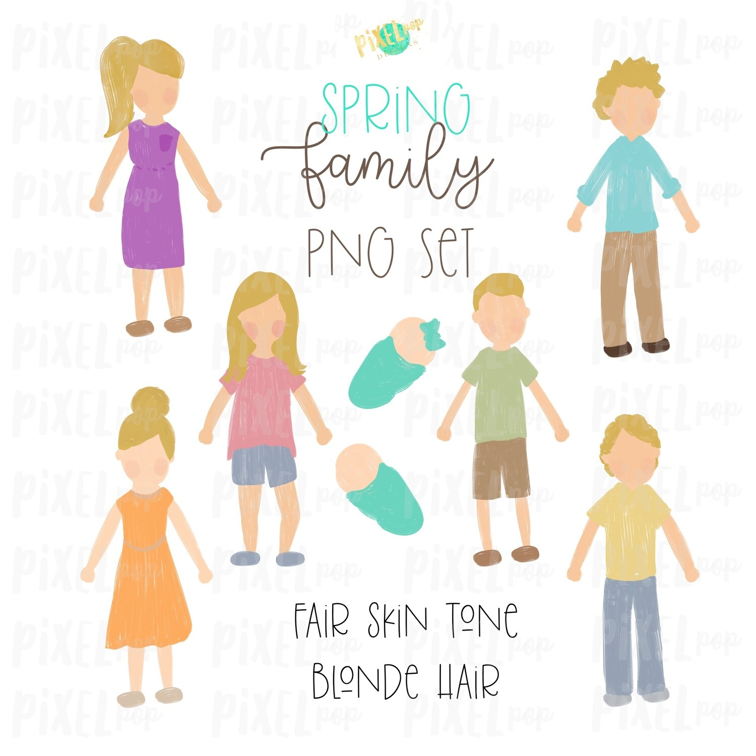 SPRING Fair Skin Blonde Hair Stick People Figure Family PNG Sublimation | Family Ornament | Family Portrait Images | Digital Download