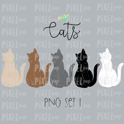 Cat Pets Set 1 for Stick Figure People Family Members Art PNG Sublimation | Family Ornament | Family Portrait Images | Digital Download
