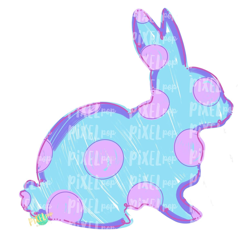 Bunny Polka Dot Silhouette BLUE Sublimation Design PNG | Easter Art | Heat Transfer PNG | Digital Download | Printable Artwork | Digital Art