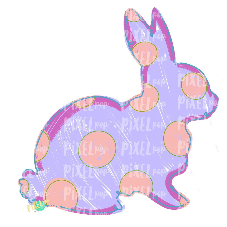 Bunny Polka Dot Silhouette PURPLE Sublimation Design PNG | Easter Art | Heat Transfer PNG | Digital Download | Printable Artwork | Digital Art