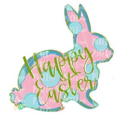 Happy Easter Bunny Polka Dot Silhouette PINK Sublimation PNG | Easter Art | Heat Transfer PNG | Digital Download | Printable | Digital Art