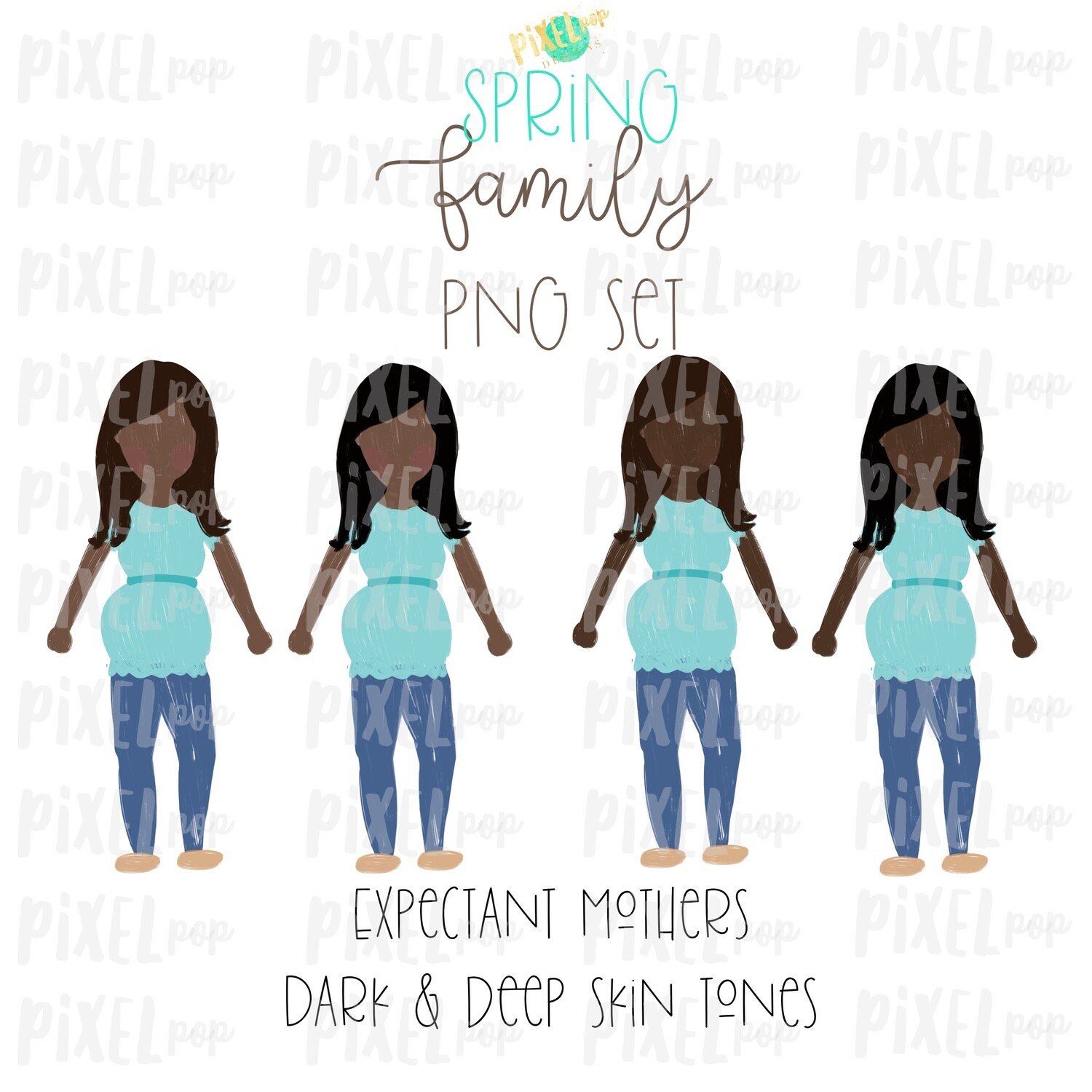 Expectant Pregnant Mothers Dark & Deep Skin Tones Stick People Figure Members PNG | Family Ornament | Family Portrait Images | Digital Art