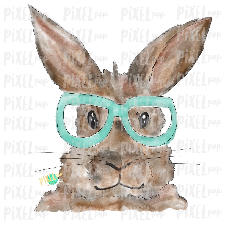 Bunny Glasses Watercolor Mint Sublimation PNG   Easter Art   Heat Transfer PNG   Digital Download   Printable   Digital Art