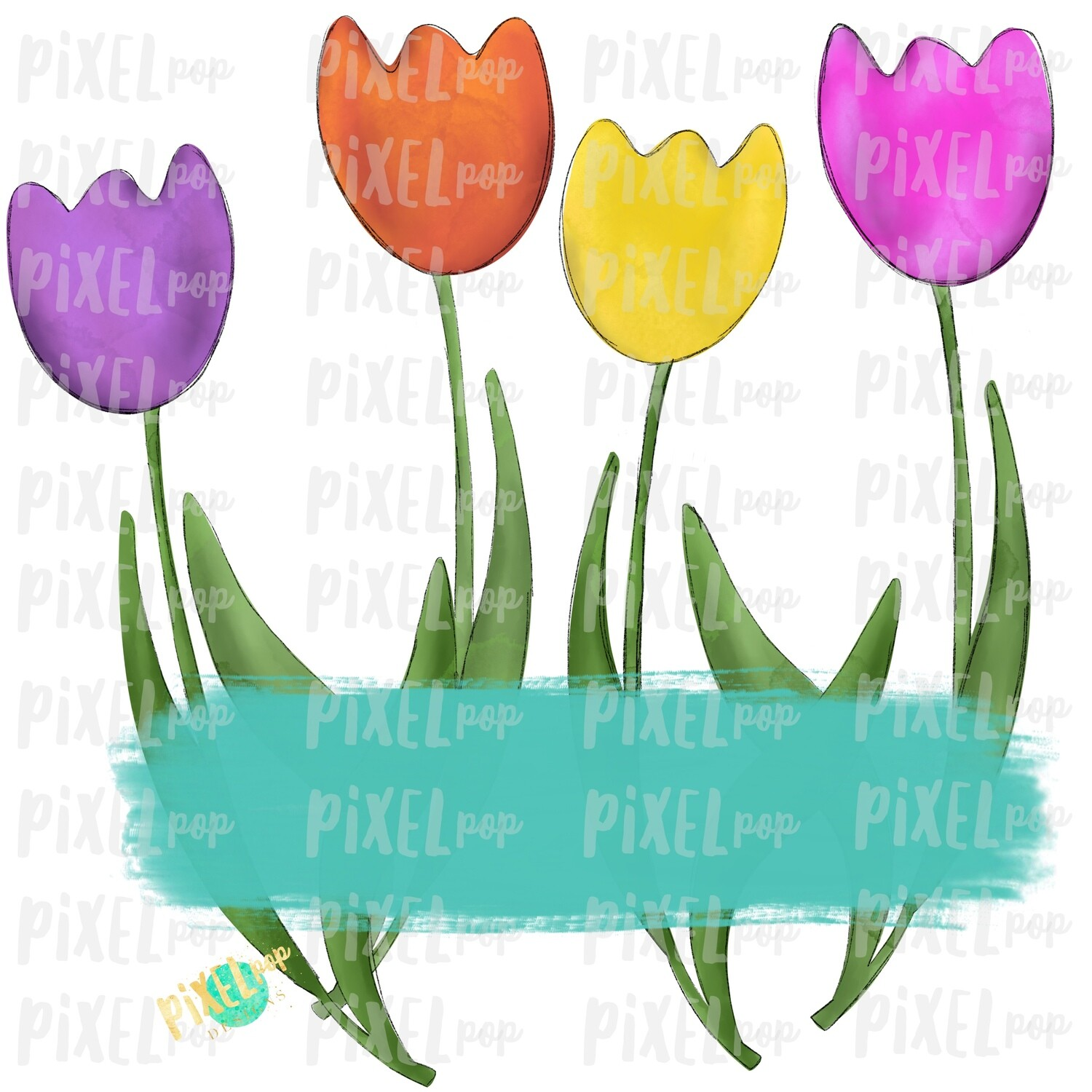 Watercolor Tulips with Blank Plate Sublimation PNG   Spring PNG   Sublimation Design   Heat Transfer PNG   Digital Download   Printable Art