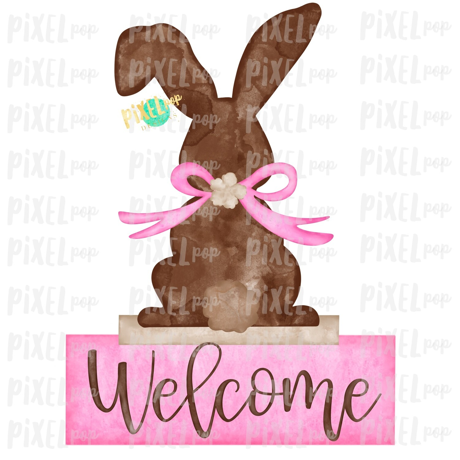 Bunny Back View Watercolor Pink Welcome Sublimation Design PNG | Easter Flag Design | Bunny Design | Easter PNG | Watercolor Art