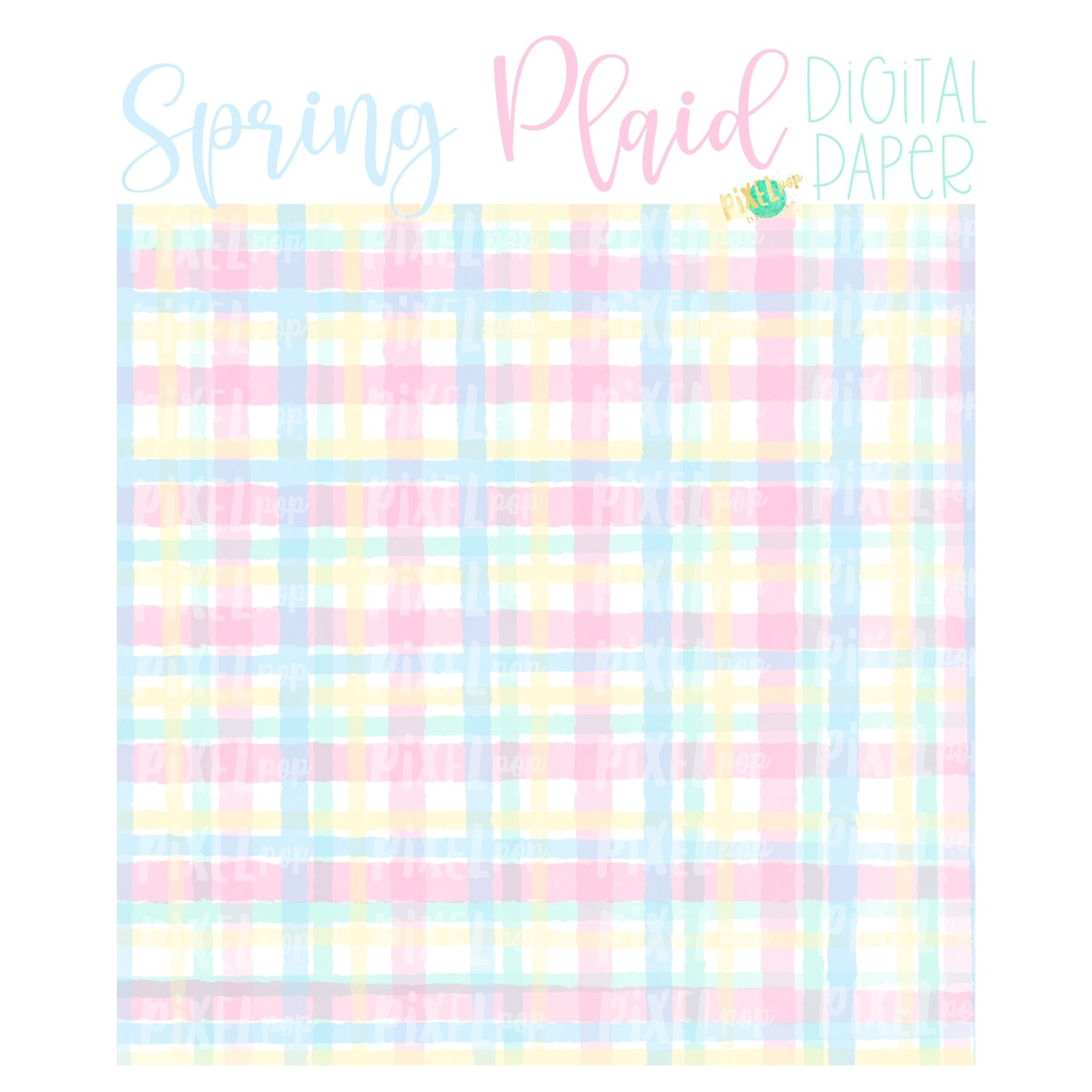 Watercolor Spring Plaid Pink Digital Paper Sublimation PNG | Hand Painted Art | Sublimation PNG | Digital Download | Digital Scrapbooking Paper