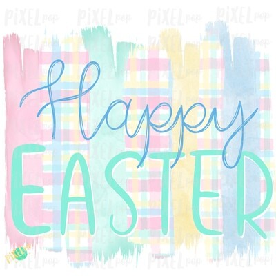 Happy Easter Pastel Plaid Brush Strokes Sublimation PNG | Reading PNG | Art | Oh the Places | Hand Painted | Digital Background | Printable