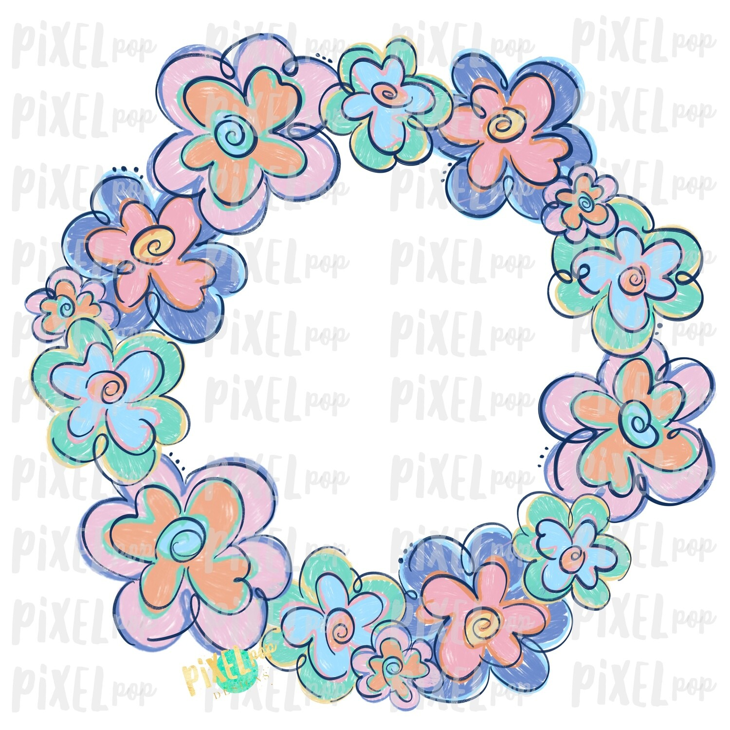 Funky Flowers Wreath Pastel Sublimation Design PNG | Digital Painting | Spring Flowers Design | Flower Wreath | Watercolor Floral Art