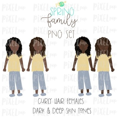 SPRING Curly Haired Females (Female E) Dark & Deep Skin Tones Stick People Figure Family Members PNG Sublimation | Family Art | Portrait