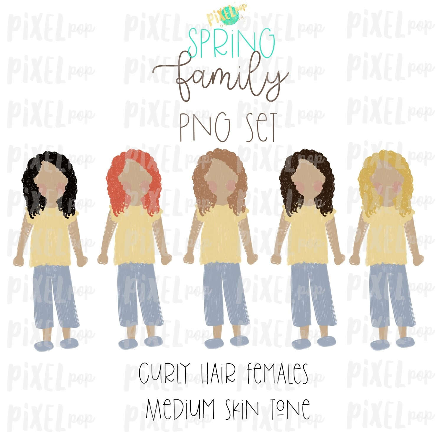 SPRING Curly Haired Females (Female E) Medium Skin Tones Stick People Figure Family Members PNG Sublimation | Family Art | Printable Art