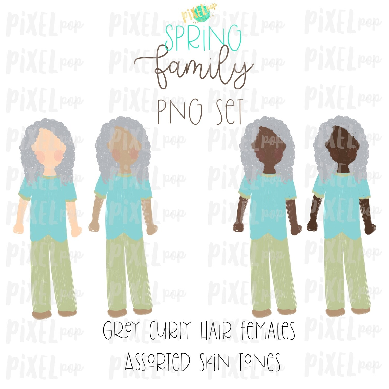 SPRING Grey Haired Females Assorted Skin Tones Stick People Figure Family Members Set PNG Sublimation | Family | Portrait