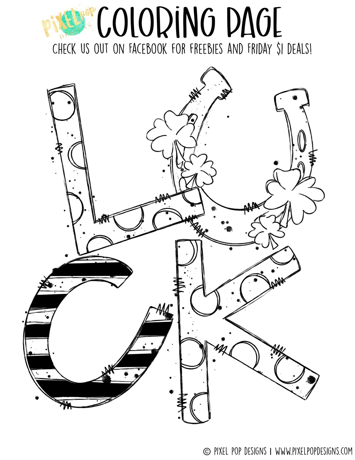 Coloring Page - Luck | Saint Patrick's Day PDF | Clover Art | Horseshoe Design | Digital Download | Printable | St. Paddy's Day