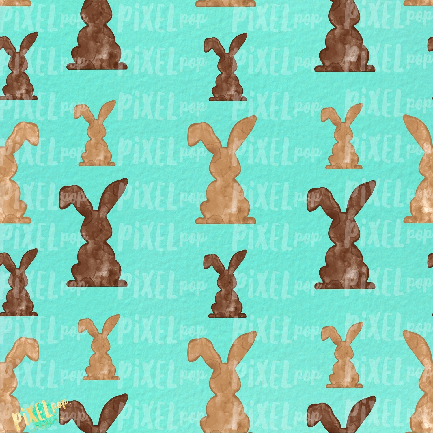Bunnies Galore Mint Easter Digital Paper Sublimation PNG | Hand Painted Art | Sublimation PNG | Digital Download | Digital Scrapbooking Paper