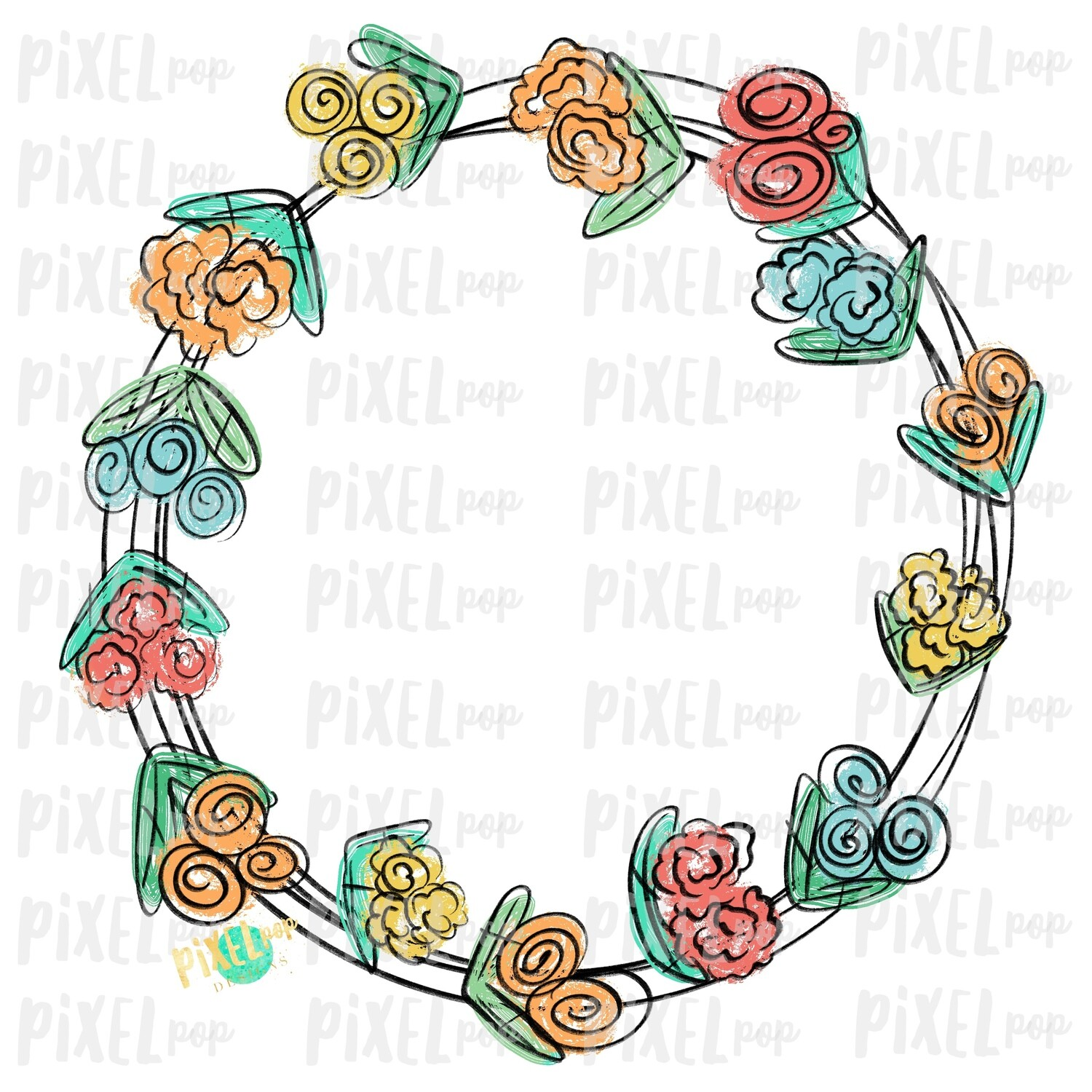 Scribble Flowers Wreath Sublimation Design PNG | Digital Painting | Spring Flowers Design | Flower Wreath | Watercolor Floral Art