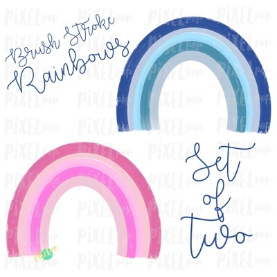 Brush Stroke Rainbows Set of Two Pink Blue Sublimation PNG | Hand Drawn | Sublimation | Miscarriage Infant Pregnancy Loss | Digital Download