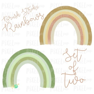 Brush Stroke Rainbows Set of Two Green Gold Sublimation PNG | Hand Drawn | Sublimation | Miscarriage Infant Pregnancy Loss | Digital Download