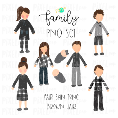 Fair Skin Brown Hair Stick People Figure Family Members PNG Sublimation | Family Ornament | Family Portrait Images | Digital Download