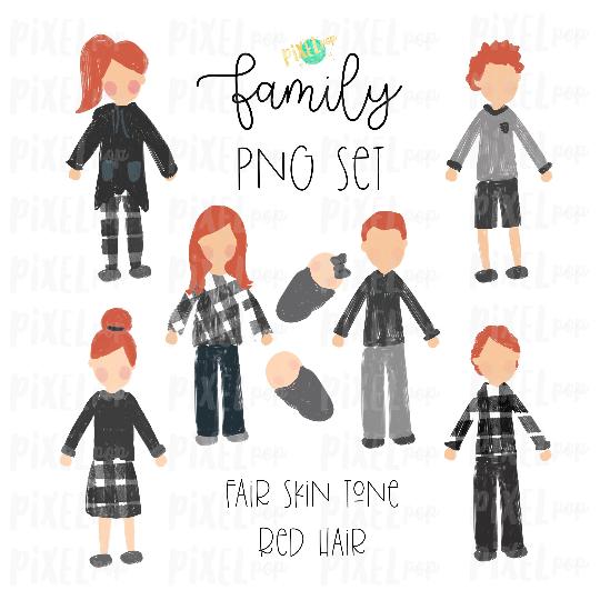 Fair Skin Red Hair Stick People Figure Family Members PNG Sublimation | Family Ornament | Family Portrait Images | Digital Portrait | Art