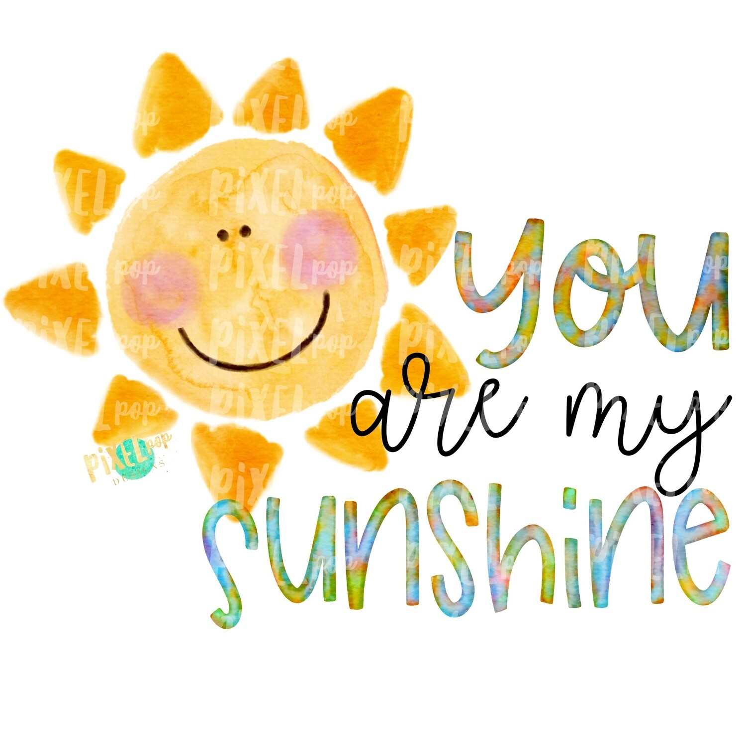 You Are My Sunshine Watercolor Sun Sublimation Design PNG | Hand Drawn PNG | Sublimation PNG | Digital Download | Printable Art | Clip Art