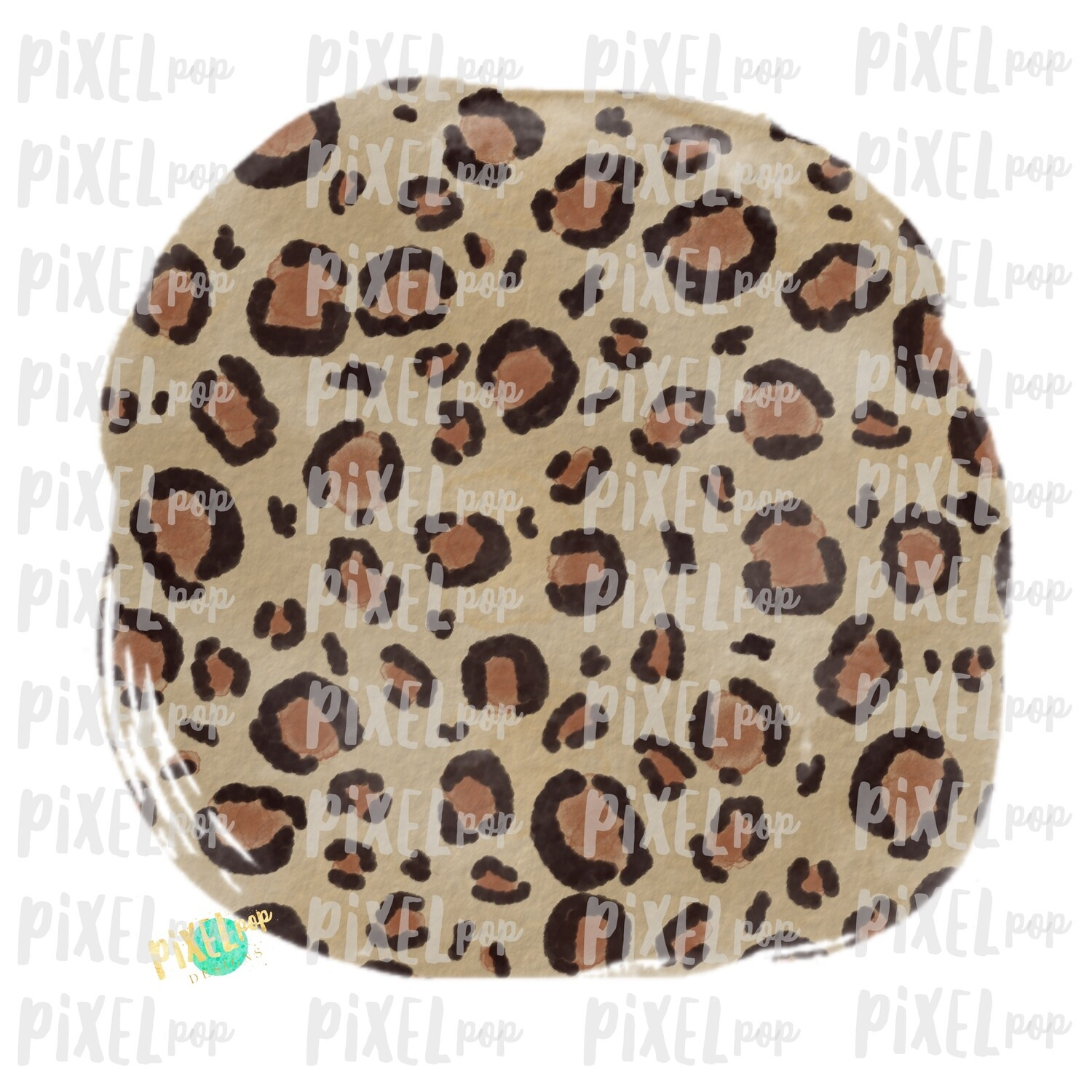 Leopard Watercolor Circle Smudge Background Sublimation PNG | Design | Hand Painted Art | Digital Download | Printable | Digital Element