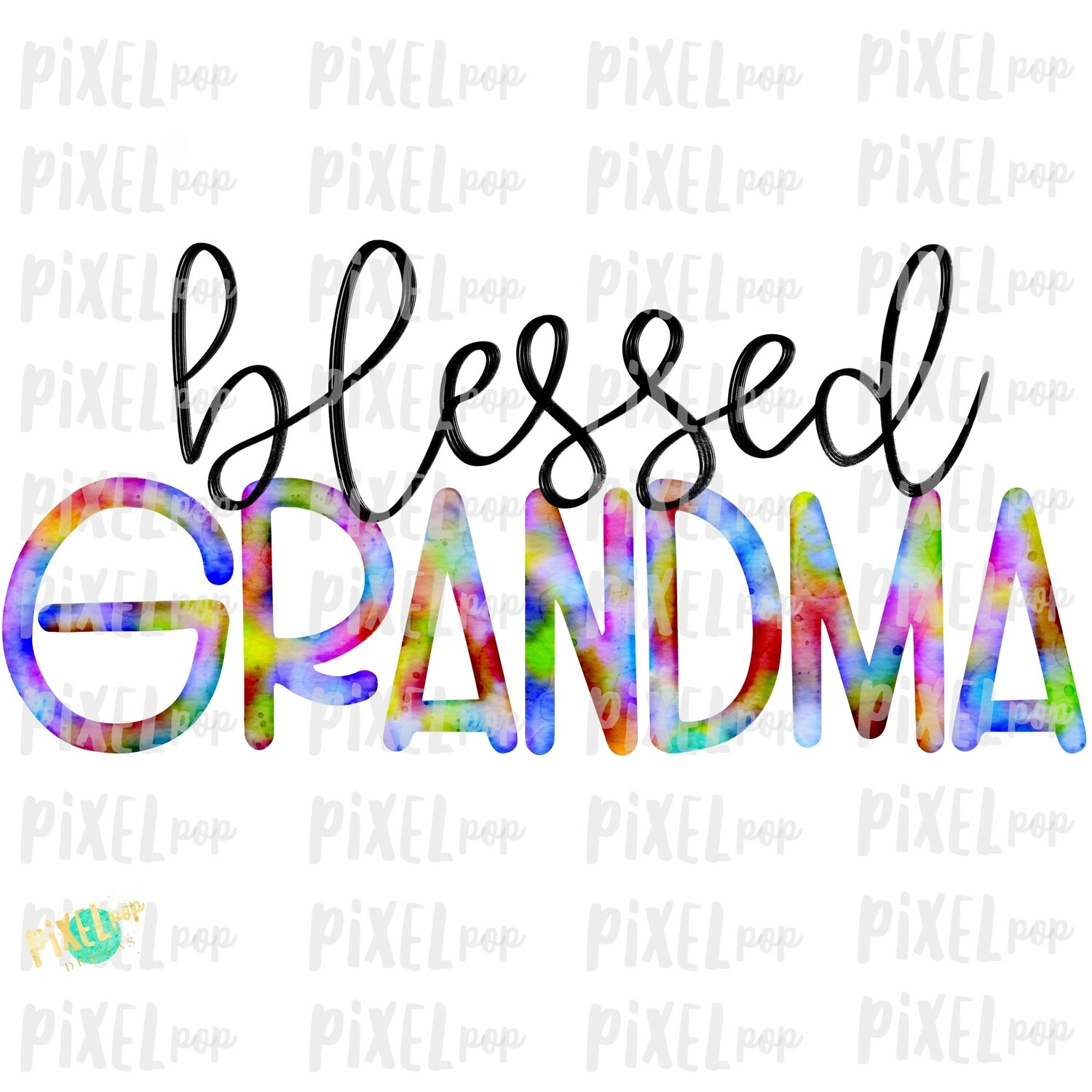Blessed Grandma Watercolor Mother's Day Sublimation Design PNG | Hand Drawn PNG | Sublimation PNG | Digital Download | Printable Art | Art