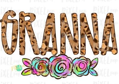 Granna Leopard Flowers Mother's Day Sublimation Design PNG | Hand Drawn PNG | Sublimation PNG | Digital Download | Printable Art | Clip Art