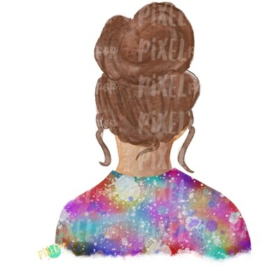 Bun Girl Light Brown Tie Dye Shirt Sublimation PNG | Sublimation Design | Hippie Girl | Digital Download | Printable Art