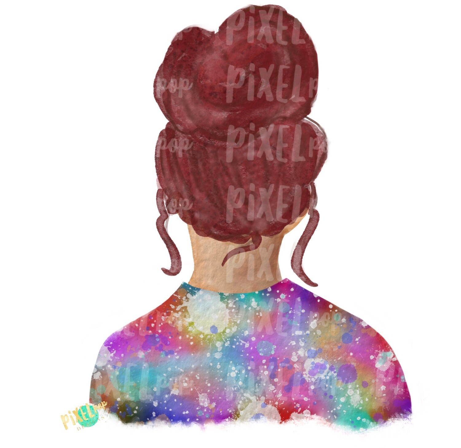 Bun Girl Red Tie Dye Shirt Sublimation PNG | Sublimation Design | Hippie Girl | Digital Download | Printable Art