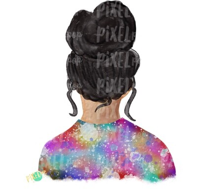 Bun Girl Light Black Tie Dye Shirt Sublimation PNG | Sublimation Design | Hippie Girl | Digital Download | Printable Art