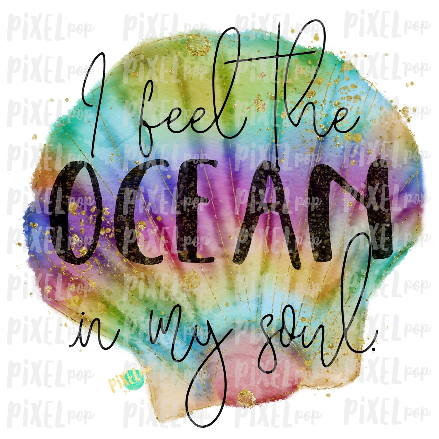 I Feel the Ocean in My Soul Shell Sublimation Art | School PNG| Hand Drawn PNG | Sublimation PNG | Digital Download | Printable Artwork | Art
