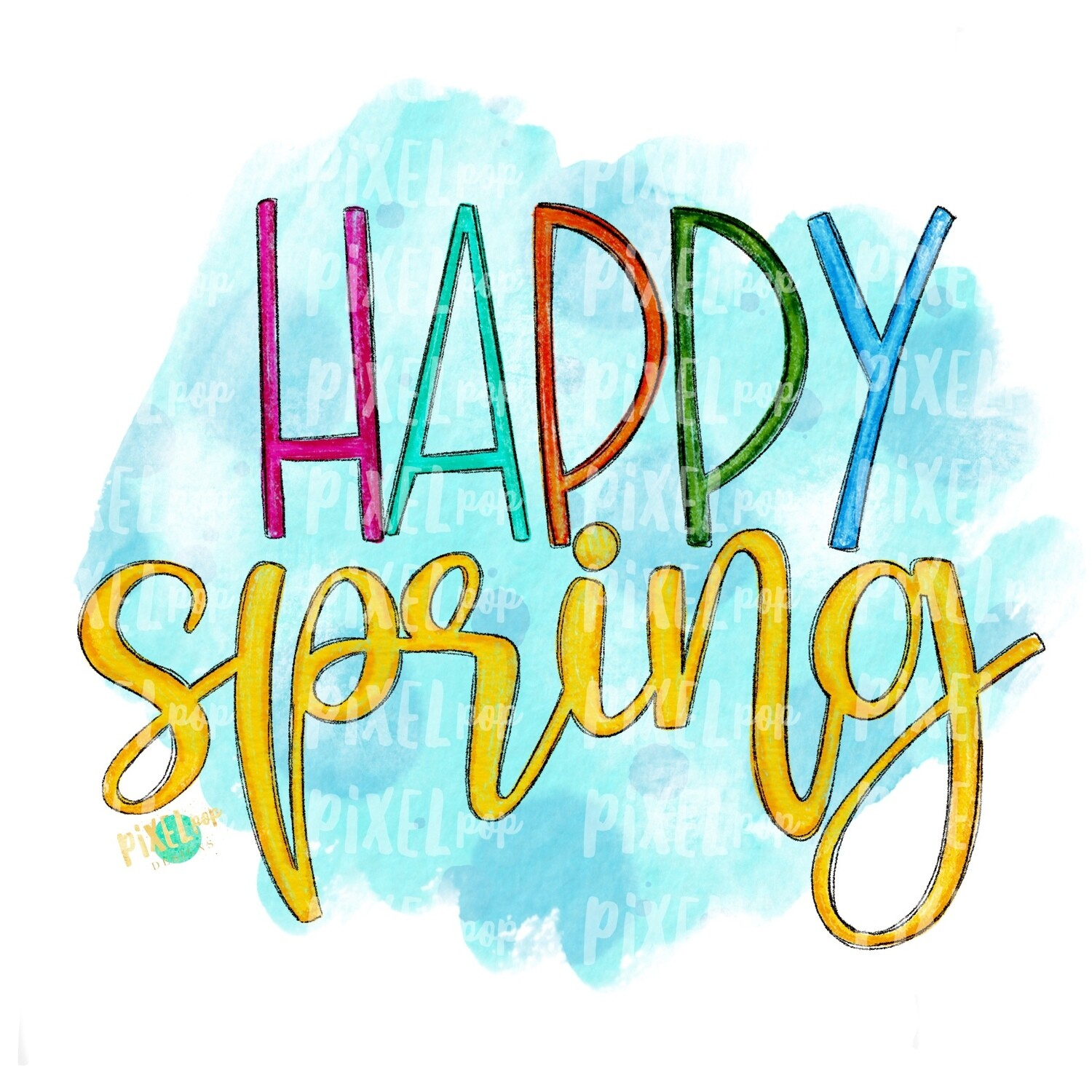 Happy Spring Watercolor PNG | Sublimation Design | Digital Painting | Watercolor Design | Spring Art | Flower Wreath | Watercolor Art
