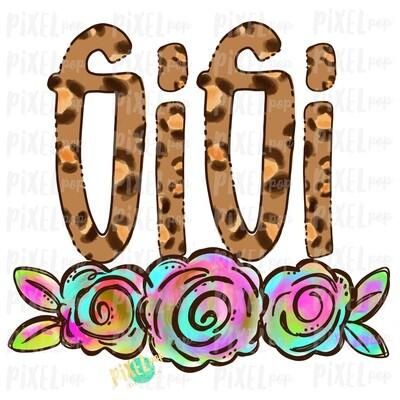Gigi Leopard Print Rainbow Flowers PNG | Mother's Day Sublimation Design | Hand Painted PNG | Digital Art | Printable Art | Clip Art