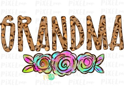 Grandma Leopard Print Rainbow Flowers PNG | Mother's Day Sublimation Design | Hand Painted PNG | Digital Art | Printable Art | Clip Art