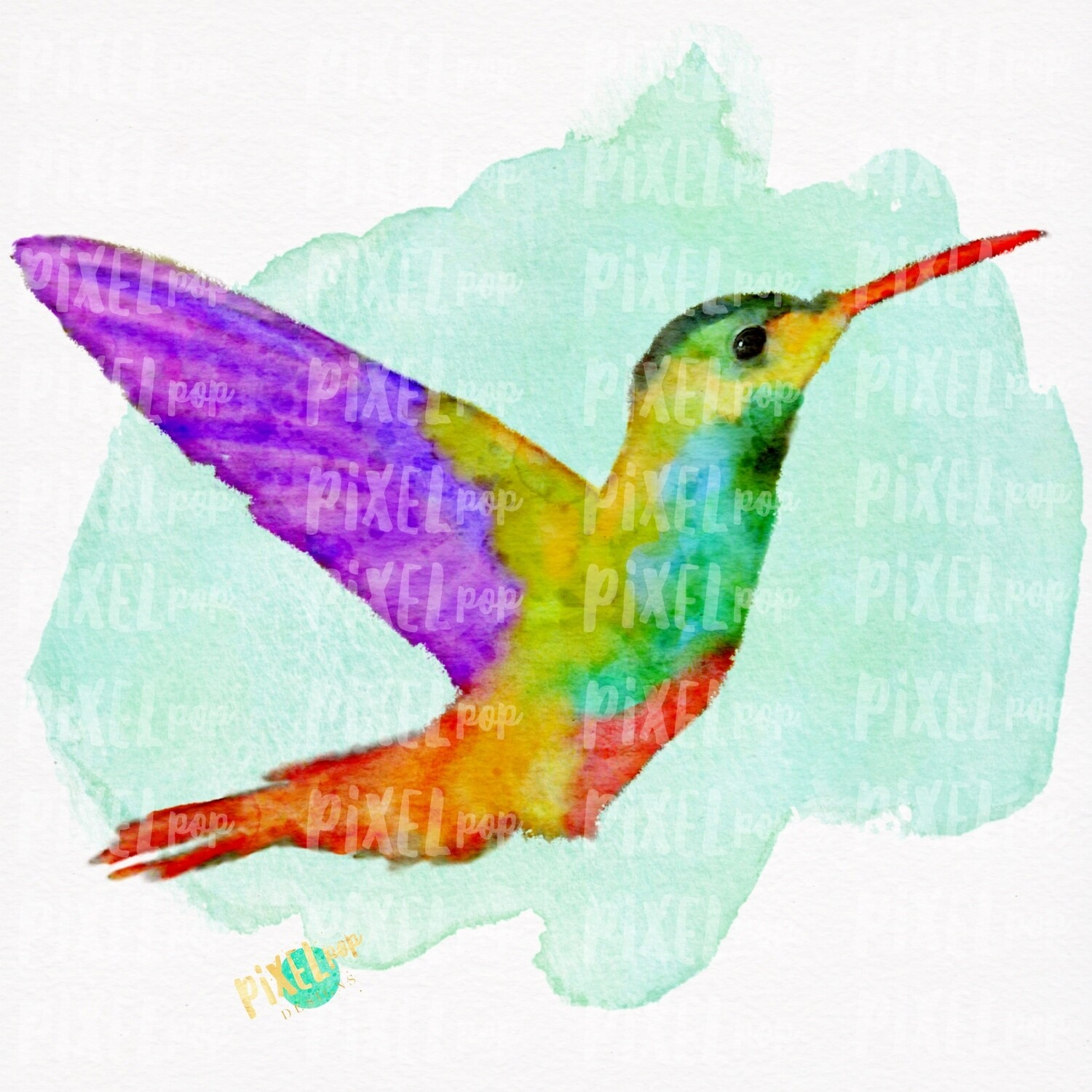 Watercolor Hummingbird PNG | Sublimation Watercolor Design | Hand Painted Bird | Watercolor Bird Digital Download | Printable Art | Clip Art
