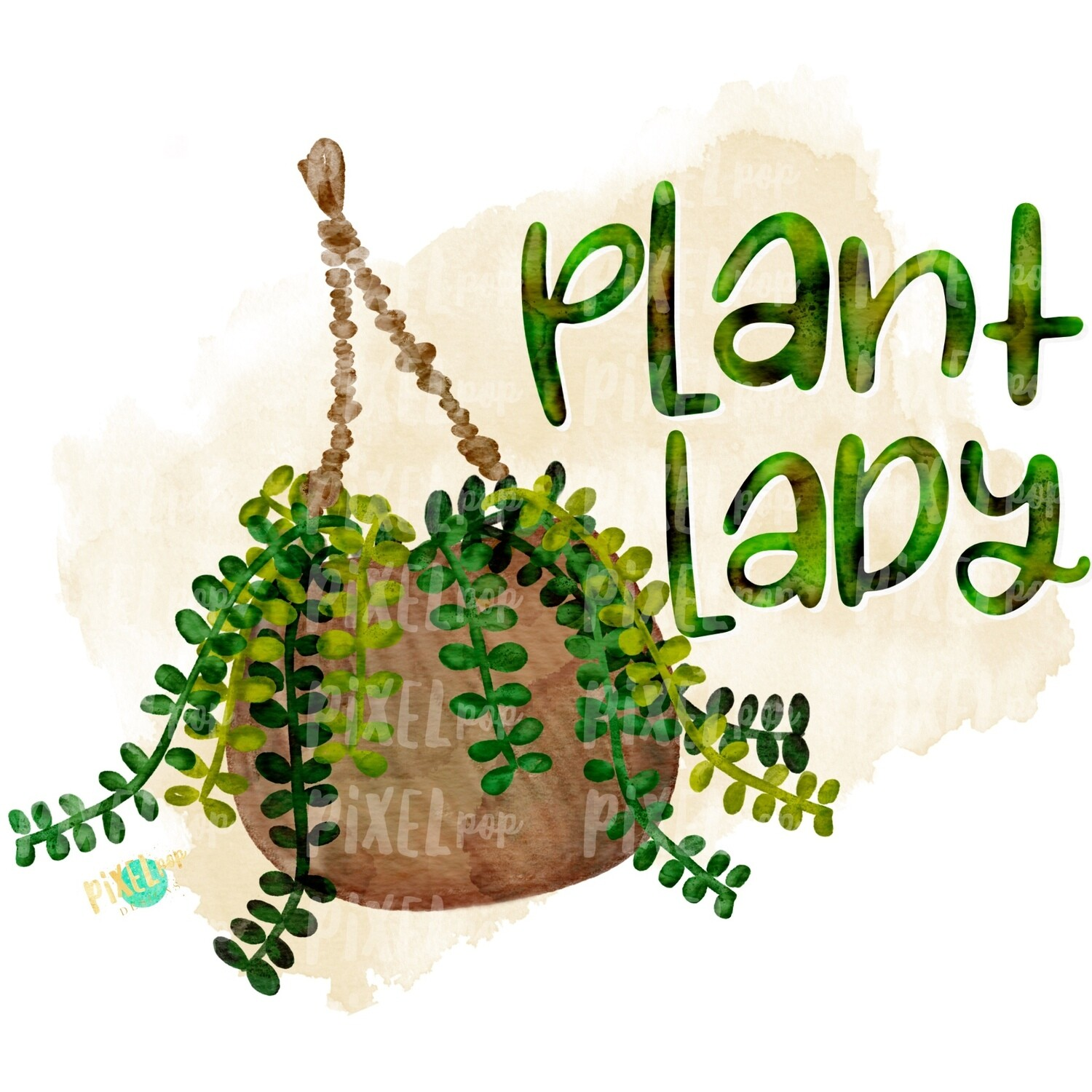 Plant Lady Watercolor PNG | Plants Design | Ferns | Nature Sublimation Design | Heat Transfer PNG | Digital Download | Printable Art