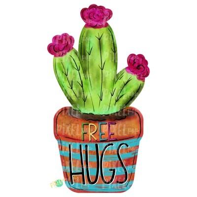 Free Hugs Cactus Watercolor PNG | Sublimation | Print and Press | Cactus Design | Printable | Digital Download | Cactus Clip Art | Hand Painted Digital Art