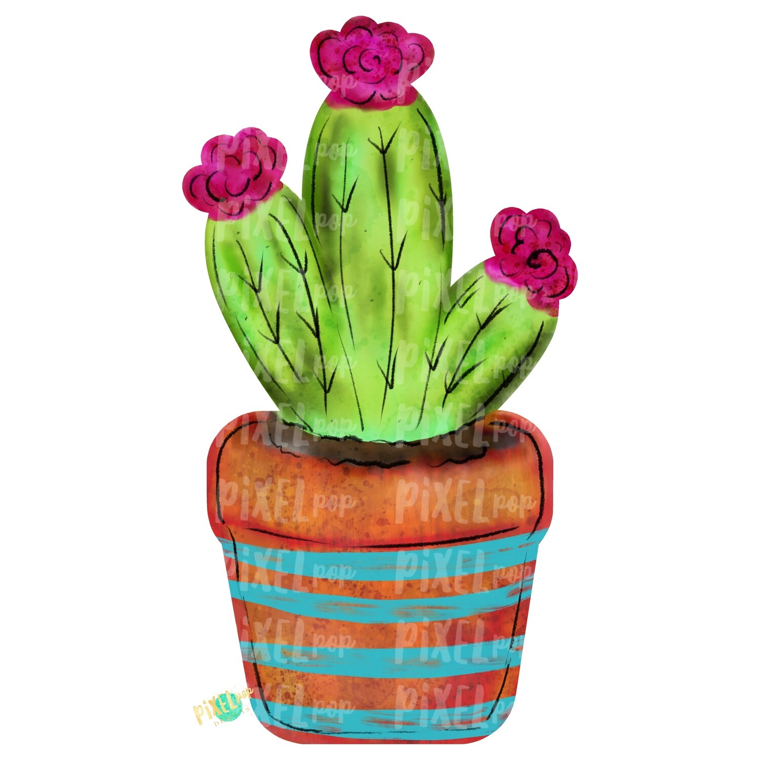 Potted Cactus Watercolor PNG | Sublimation | Print and Press | Cactus Design | Printable | Digital Download | Cactus Clip Art | Hand Painted Digital Art