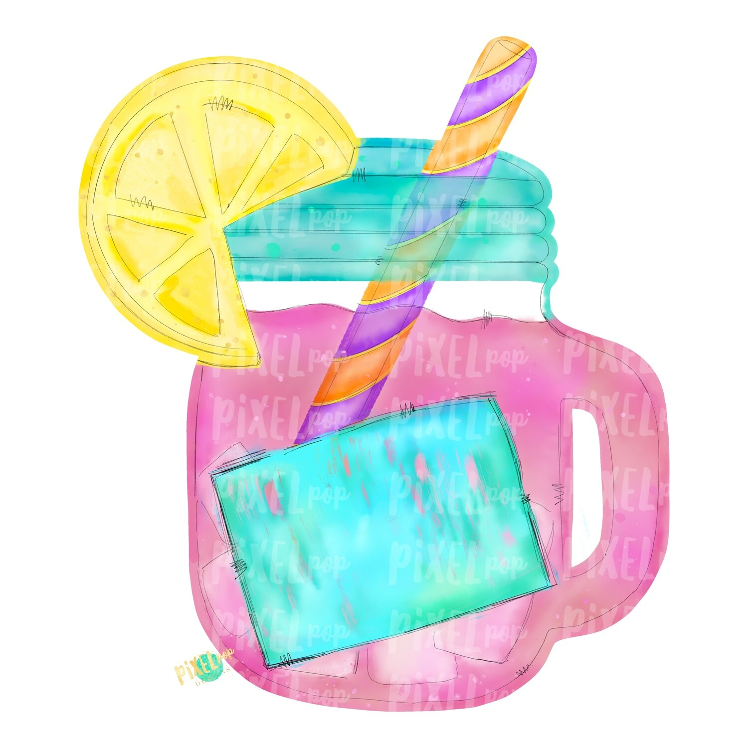 Pink Lemonade in Mason Jar Watercolor PNG | Sublimation | Print and Press | Pink Lemonade Design | Printable | Digital Download | Lemonade Clip Art | Hand Painted Digital Art
