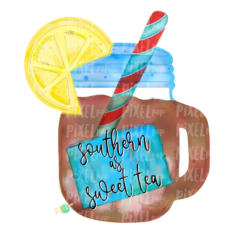 Southern as Sweet Tea Watercolor PNG | Sublimation | Print and Press | Mason Jar Tea Design | Printable | Digital Download | Sweet Tea Clip Art | Hand Painted Digital Art