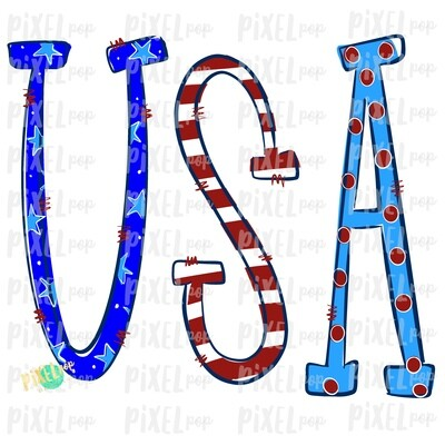 USA Doodle Red White Blue  PNG | Hand Painted Sublimation Design | July 4 Design | Independence Day Digital Art | Printable Art | Clip Art