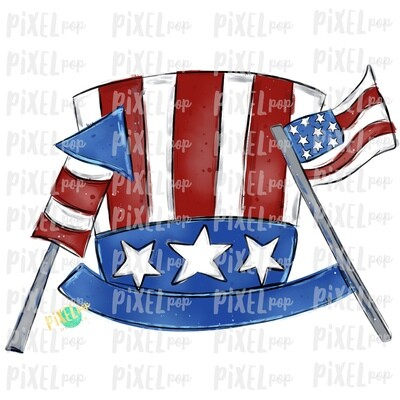 Patriotic Hat Flag and Firecracker PNG | July 4th Design | Flag Art | Sublimation Art | Digital Download | Printable Art | Clip Art