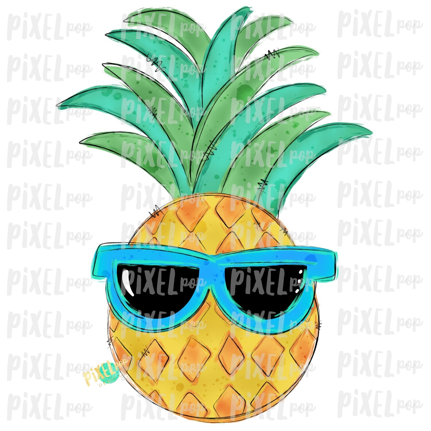 Pineapple with Sunglasses Design | Sublimation | Fruit | Hand Drawn PNG | Sublimation PNG | Digital Download | Printable Art | Clip Art