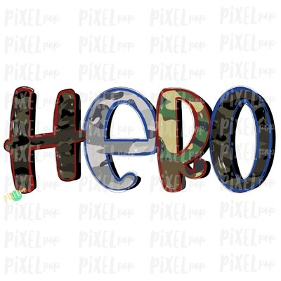 Hero Camouflage Patriotic PNG | Hand Painted | Sublimation Design | Military Design | Camouflage Digital Art | Printable Art | Clip Art