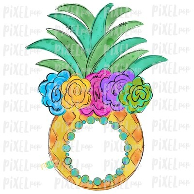 Pineapple with Flower Crown Design | Sublimation | Monogram blank | Fruit | Hand Drawn PNG | Digital Download | Printable Art | Clip Art